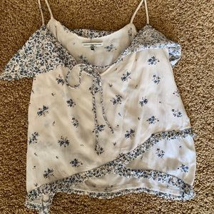 American Eagle tank top with blue flower details